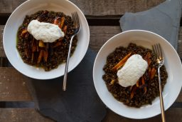 Lentil Salad with Balsamic Carrots and Mozzarella Creme